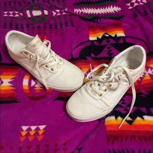 Women's white and gold low top Vans size 9.5